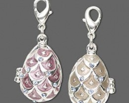 CLEARANCE~ Enameled Silver Plate Faberge-Style Pendant/Charm