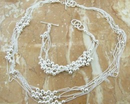 925 Sterling Silver Chain and Bead Necklace and Bracelet Set