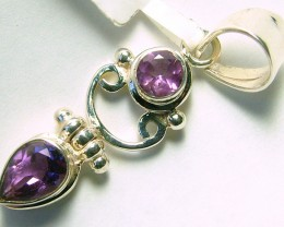 AMETHYST  FACETED  SILVER PENDANT -  38CTS  ADK-159