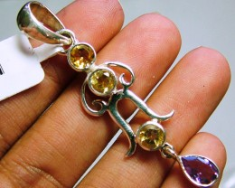 AMETHYST AND CITRINE  SILVER PENDANT -  28CTS  ADK-182