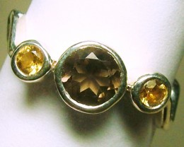 CITRINE-SMOKY QUARTZ SILVER RING  14  CTS  SIZE - 8 ADK-98