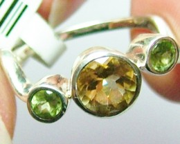 CITRINE AND PERIDOT  SILVER RING SZ6    12CTS  ADK-225