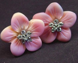 CONCH FLOWER EARRINGS -SILVER 22.20 CTS [GT1344 ]