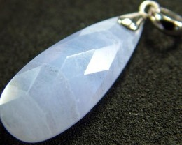 FACATED BLUE LACE AGATE SILVER PENDANT 13.2 CTS [GT568 ]