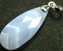 FACATED BLUE LACE AGATE SILVER PENDANT 12.8 CTS [GT570 ]