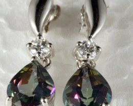 Sterling Silver Earring With Real Mystic Topaz Gem SE-03