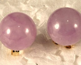 Beautiful 14k Gold Earring with Purple Jade-Reduced S GE-006