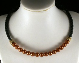 Fashionable Plaited Leather & Pearl Choker Necklace LP-01