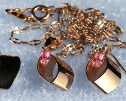 Lovely Red Gold Filled Necklace & Pendant /Earring set  GN02