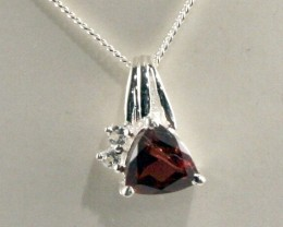 Sterling Silver Necklace & Garnet & Topaz Pendant(SSN-16
