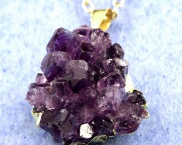 Amethysy Cluster Pendant  From Uruguay on GP Chain  ACC-09