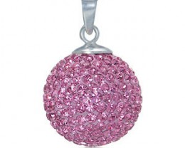 AWESOME  SPARKLING PINK CRYSTAL BALL PENDANT W/ CHAIN