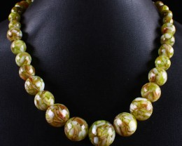 LOVELY MOTHER OF PEARL W/ RESIN  BEADED NECKLACE  355. CTW