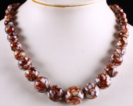 LOVELY BROWN MOTHER OF PEARL / RESIN NECKLACE 342.20 CTW