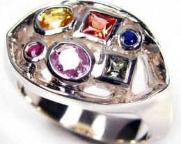 PARTY SAPPHIRES IN STERLING SILVER RING SIZE 7.5  GTJA48