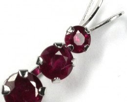 RUBY 10K  WHITE GOLD   PENDANT     GTJA225