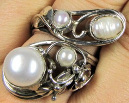 MULTI KESHEI  PEARL  NATURAL SILVER RING  SIZE 7.5 GTJA 241