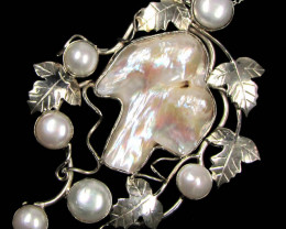 HUGE UNIQUE  PEARL  NATURAL SILVER PENDANT   GTJA 245