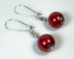 Beautiful Red Glass Pearl Dangle Drop Earrings