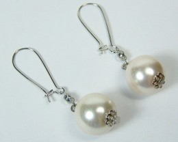 Classy Ivory Glass Pearl Dangle Drop Earrings