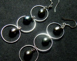 925 SILVER EARRING WITH PEARLS 20.2 CTS [3E16]