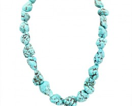 Genuine 774.00 Cts Untreated Turquoise Beads Necklace