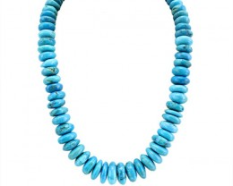 Genuine 843.00 Cts Untreated Turquoise Round Beads Necklace