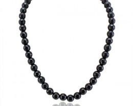 Genuine 323.00 Cts Black Spinel Faceted Beads Necklace