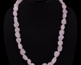 Pink Rose Quartz Necklace 439.45 Cts  Beads Necklace