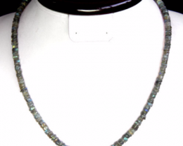 Blue Color Change Labradorite Necklace 106.00 Cts Round Beads Necklace