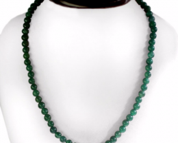 Green Jade Necklace 196.00 Cts Top Grade AAA Round Beads Necklace