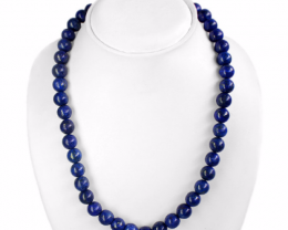 Genuine attractive 502.00 carat natural gold flakes blue lapis lazuli neckl