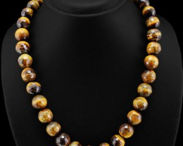 655.00 Carats  Natural  Golden Tiger Eye Beads Necklace