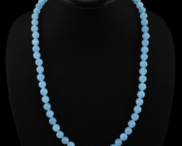Genuine 237.00 Cts Blue Chalcedony Round Beads Necklace