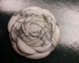 CARVED HOWLITE FLOWER PENDANT LARGE SIZE SPECIAL PRICE!!