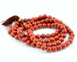 Genuine 369.00 Cts Red Jasper 108 Beads Prayer Necklace