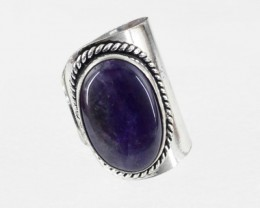 Natural 13.80 Gms Purple Quartz Adjustable Ring