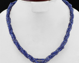 Genuine 250.00 Cts Blue Tanzanite Faceted Beads Necklace Strand