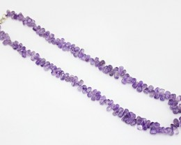 Genuine 227.00 Cts  Purple Amethyst Beads Necklace