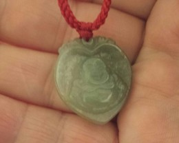 CARVED GREEN JADE BUDHA PENDANT HEART SHAPED Natural