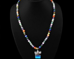 Genuine 202.90 Cts Seven Chakra Multi Gemstone Beads Necklace