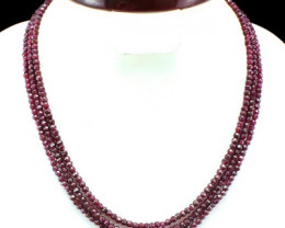 Genuine 210.00 Cts 3 Line Red Garnet Beads Necklace