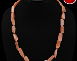 Genuine 222.65 Cts Orange Moonstone Beads Necklace