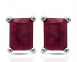 NEW GENUINE EMERALD CUT RUBIES SET IN 925 STERLING SILVER