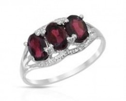NEW GENUINE GARNET AND DIAMOND RING SET IN 925 STERLING SILVER