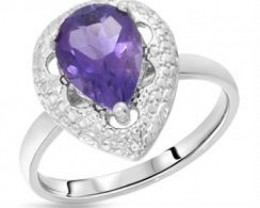 NEW RING OF GENUINE AMETHYST AND DIAMONDS SET IN 925 STERLING SILVER