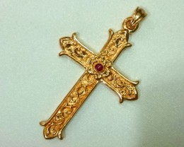 Vintage Cross Pendant With Ruby