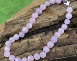 Natural Pink Rose Quartz Round Beads Bracelet