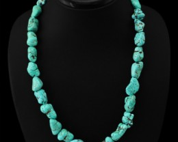 Genuine 455.40 Cts Turquoise Untreated Beads Necklace