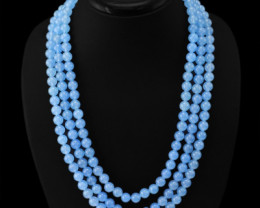Genuine 692.05 Cts Chalcedony 3 Strand Round Beads Necklace